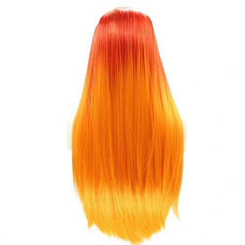 Peluca de encaje frontal para mujer, color rojo y naranja