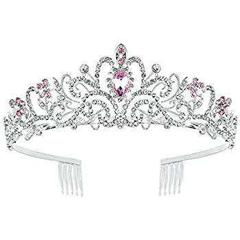 Canitor Birthday Crown Pink Rhinestones Tiara Wedding Tiara for Women Crystal Tiara with Combs Princess Crown Queen Crown Tiaras and Crowns