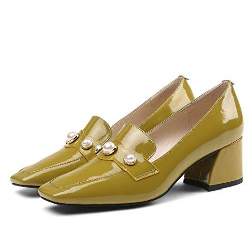 LOHU Damenschuhe High Heels Strass Mid Schuhe mit hohen Absätzen Arbeitsschuhe Mode British Casual Schuhe Schwarz Senfgelb (Farbe : Mustard Yellow, Größe : 39 EU)
