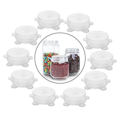 77L Silicone Stretch Lids for Regular and Wide Mouth Mason Jar, Set of 10 Reusable Silicone Stretch Lids, Sealed Durable Food Storage Covers Suit for Jar, Cans, Pot, Keep Food Fresh (White)