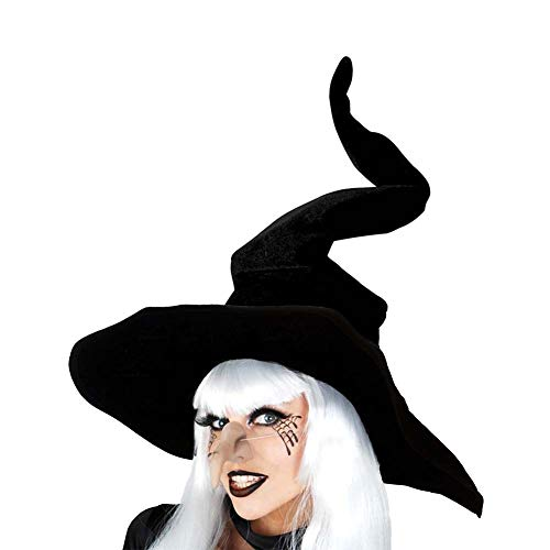 Dupung Wicked Witch Hat for Women Black Halloween Party Masquerade Cosplay Costume Accessory Adult