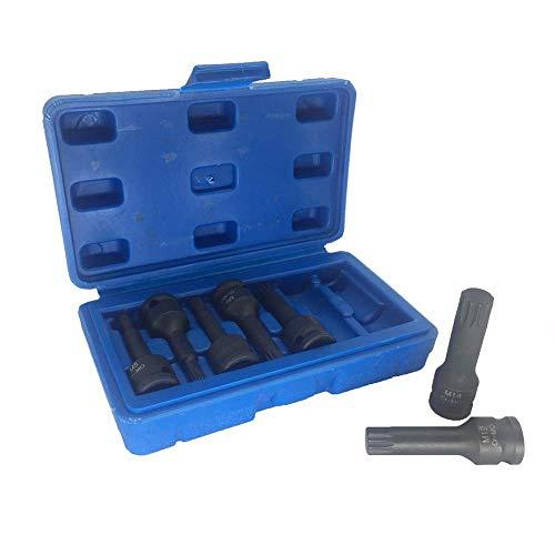 Yadianna 7 Piece 3/8inch Square Drive Impact Socket Bit Set M5 M6 M7 M8 M10 M12 M14 12 Point Spline Bit Socket Screwdriver