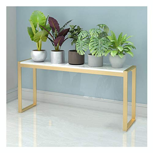 HDGAB Plantenstandaard, smeedijzer, vloerstaande decoratieve bloem met marmeren oppervlak, gelast bij hoge temperatuur, voor koffie en woonkamer
