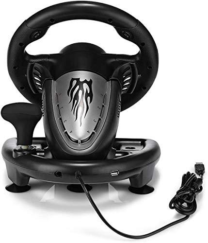 YAYY ® Racing Game Pad 180 graden stuurwiel-vibratie joysticks met opvouwbaar pedaal voor PC PS3 PS4 Xbox One All-in-One (upgrade)