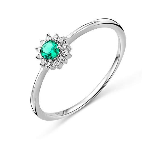 Miore Damen Weißgold Smaragd Verlobungsring 9KT (375) mit Diamant Brillanten 0.05 ct