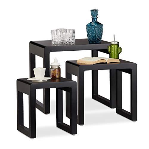Relaxdays Satztisch 3er Set, Beistelltische ineinander stapelbar, matt lackierter Holztisch in elegantem Design, schwarz