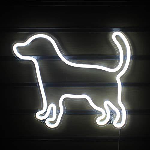 Hund geformte Neonlichtschilder Led Hund Neonlichter Niedliches Tier Neonschild Leuchten Wandschilder Lampe Neonlichter für Kinderzimmer Schlafzimmer Wanddekoration Weihnachtsgeburtstagsschilder(Weiß)