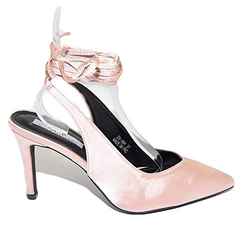Malu Shoes Decollete' Donna Cipolla a Punta in Raso Tallone Scoperto con Allacciatura...