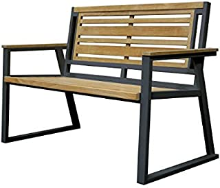 Asta Furniture M2-11A/Blk Asta California Room Teak and Iron 2-Seater Bench - Classic (Black)