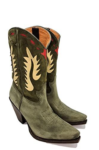 Sendra Boots Bota Cowboy Combinada Para Mujer Modelo 15351 Gorca En Cuero Y Serraje Fantasía (Milit/ValenOliveA221, numeric_38)
