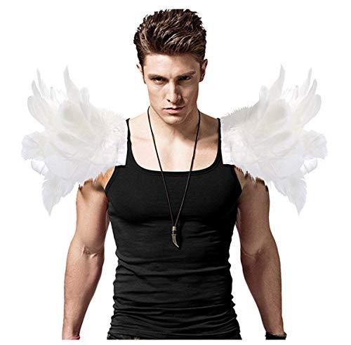 L'VOW Disfraz de alas de ángel gótico para hombre, con plumas blancas, para carnaval, un par (blanco)