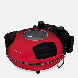 IKOHS VULCANO Pizza Maker - Horno Eléctrico Pizzas, Base de Piedra Especial para cocinar Pizza, 31 CM Diámetro, 1200 W, Temperatura hasta 350°, Niveles Potencia 5, Con Temporizador, Autoapagado (Rojo)