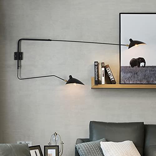 Lámpara de Pared LED, E27 Apliques Moderna Interior, La pantalla de la lámpara se puede girar 360 grados, unos 40 grados hacia arriba y hacia abajo, Para Lámpara de Salón, Dormitorio (2 lámpara)