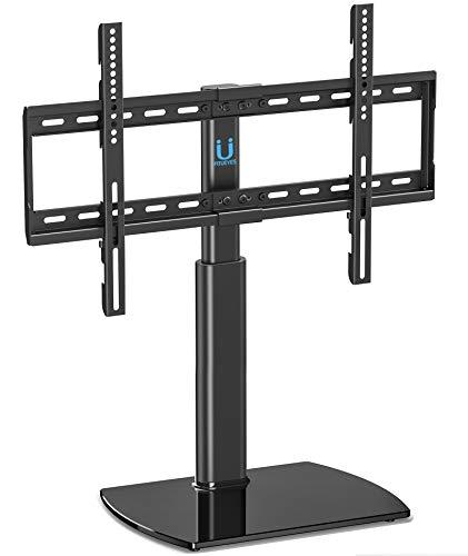 FITUEYES TV Standfuß TV Ständer Fernsehstand für 32 bis 65 Zoll Höhenverstellbar Drehbar Glas Max.VESA 400x600 drehbar TT107002GB-G