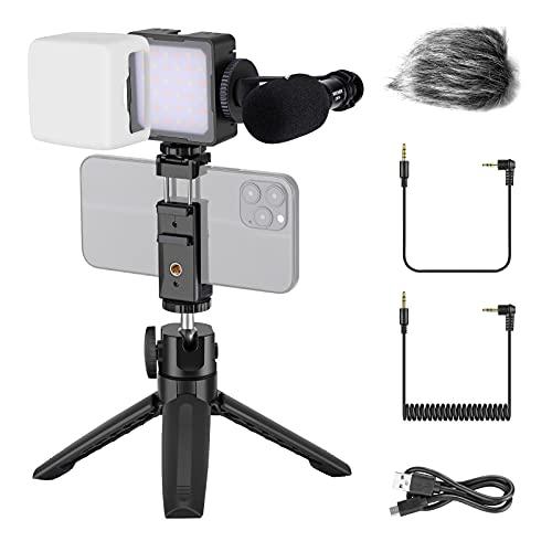 Neewer Vlogging Kit para Grabación de Video por Teléfono, Kit de Micrófono de Video para Cámara de Smartphone, Incluye Luz LED de 2800~8500K Micrófono CM14 Soporte para Teléfono Mini Trípode