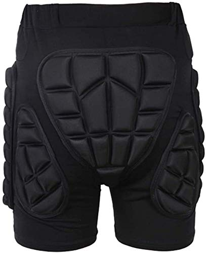 Protection Hip 3D Padded Shorts Breathable Lightweight Protective Gear for Ski Skate Snowboard Skating Skiing Volleyball Motorcross Cycling (Color : Black, CH : XX-Large)