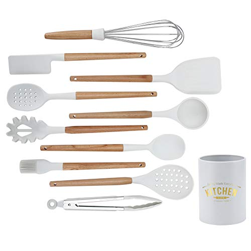 Silicone Kitchen Utensiles Set, 12pcs Non-Stick Cooking Utensils with ‑30‑230℃ Temperature Resistance Kitchen Spatula Spoons Tools White