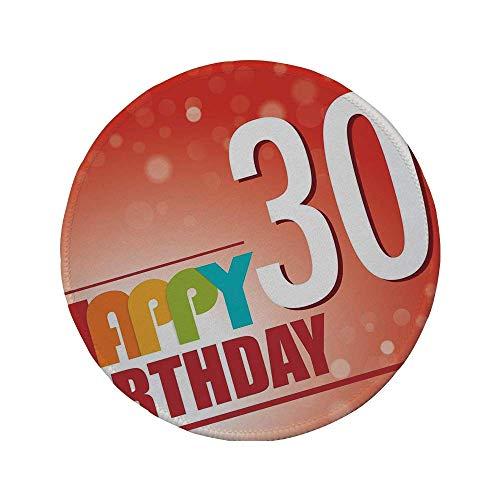 Rutschfreies Gummi-rundes Mauspad Dekorationen zum 30. Geburtstag Einladung zur Geburtstagsfeier im farbenfrohen Poster im Retro-Stil mehrfarbig 7.9