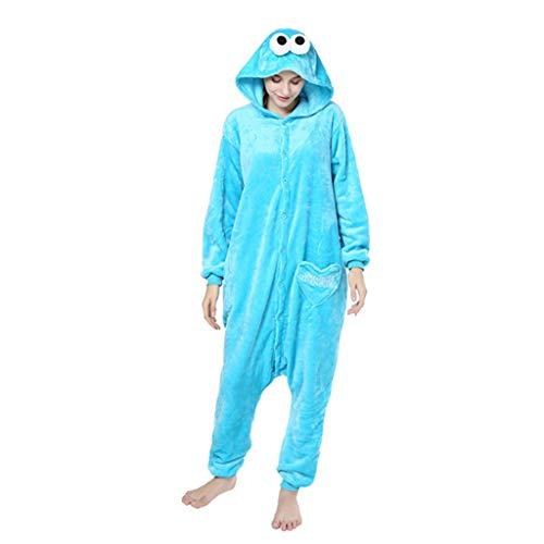 JXILY Pijama de Animales Pijama de una Pieza de Animales de Dibujos Animados de Barrio Sésamo para Hombres y Mujeres Cosplay o Pijama, con Capucha,Azul,S
