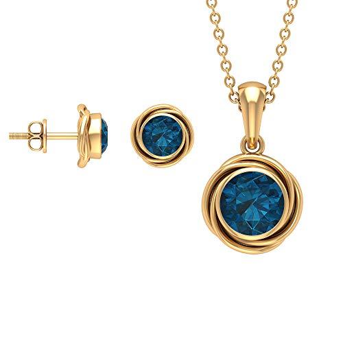 Rosec Jewels 10 quilates oro amarillo redonda Blue Topacio azul - Londres