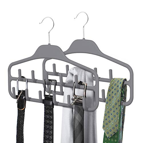 SMARTAKE 2 Pack Belt Hanger, 360 Degree Rotating Tie Rack with Hooks, Non-Slip Durable Hanging Closet Organizer Accessories Holder for Leather Belt, Bow Tie, Scarves and More, Grey
