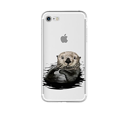 Blingy's iPhone SE (2020) Case/iPhone 8 Case/iPhone 7 Case(4.7inch), Fun Animal Style Transparent Clear Flexible Soft TPU Case Compatible for iPhone SE (2020)/iPhone 8/iPhone 7 (Swimming Otter)