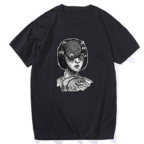 Manga Otaku Junji Ito Uzumaki Japanese Anime Horror Anime Summer Harajuku Comic T Shirts Men Cotton Hip Hop O-Neck Tees Tops