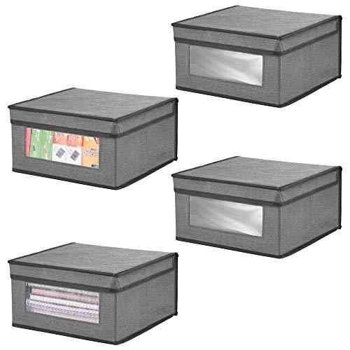mDesign Juego de 4 Cajas organizadoras apilables – Gran Organizador de armarios con Ventana para despacho, Dormitorio o Sala de Estar – Caja con Tapa de Fibra sintética – Gris y Negro