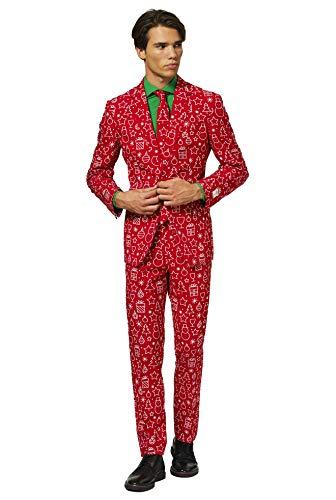 OppoSuits Weihnachtsanzüge für Herren – Iconicool – Besteht aus Sakko, Hose und Krawatte – EU 48
