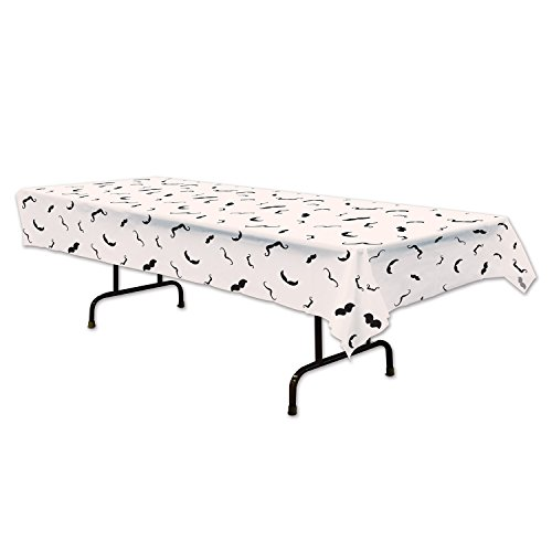 Beistle Moustache Tablecover, 54 by 108-Inch