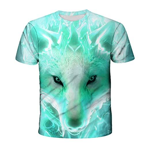 YANJJ Tierdruck Kinder T-Shirt 3D Wolf Muster Schnell Trocknend Atmungsaktiv Outdoor Sport Boy Kurzarm C-100