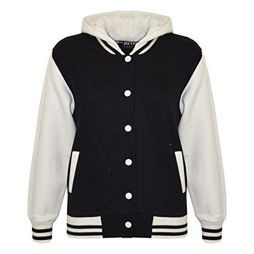 A2Z 4 Kids Unisex Zwei Taschen Kapuzenpullover - B.B Plain Hooded Jacket Black 11-12