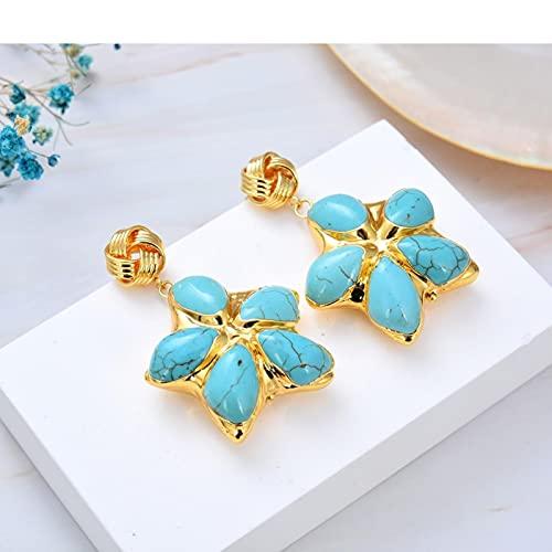 SALAN Joyas Azul Turquesa Flor Chapado En Oro Pendientes Colgantes De Flores para Mujeres Regalos Joyas