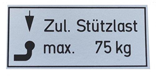 FKAnhängerteile 5 Stück PKW Stützlast Aufkleber 75kg