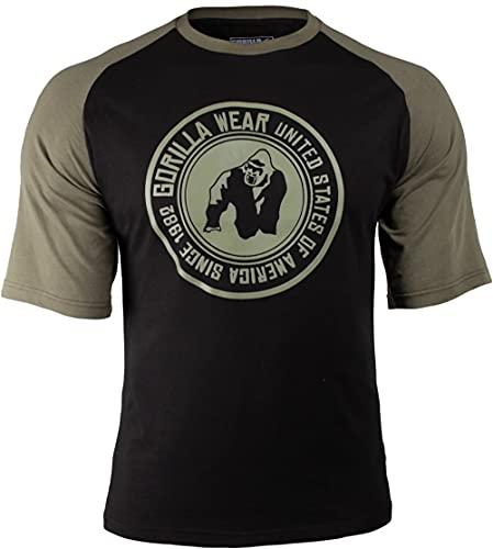 Gorilla Wear Texas T-Shirt - schwarz/Armee Grün- Bodybuilding und Fitness Bekleidung Herren, M