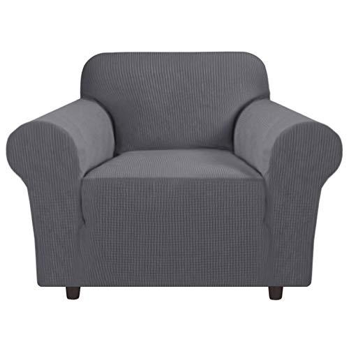 ZUQ Fundas de sofá elásticas, 1/2/3/4 plazas, funda de sofá Jacquard Strecken, funda antideslizante para sofá de 1 plaza, color gris