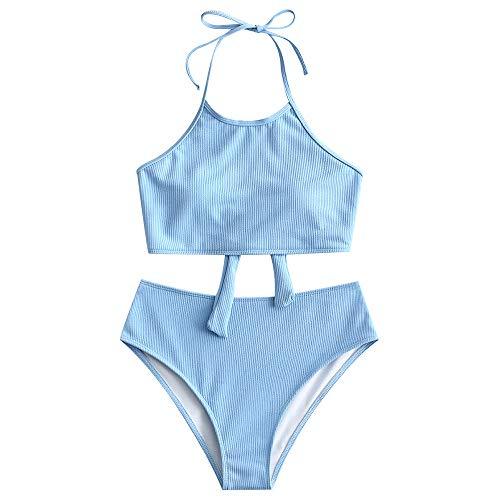 ZAFUL Damen Neckholder Bikini Set Sommer Solide Swimwear Hellblau M