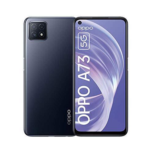 OPPO A73 Smartphone, Display 6.5' FHD e Refresh Rate 90 Hz, 3 Fotocamere Posteriori, RAM 8 GB e 128 GB Espandibile, Batteria 4040 mAh, 5G, Dual Sim, Android 10 ColorOS 7.2, Colore Navy Black