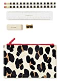 Kate Spade New York Pencil Pouch Including 2 Pencils, Sharpener, Eraser, and Ruler School Supplies, Forest Feline