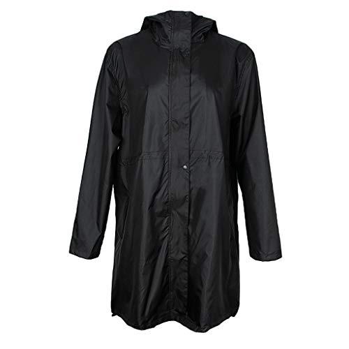 SM SunniMix Womens Lightweight Waterproof Jacket Outdoor Hooded Raincoat Foldable Poncho - Black, L
