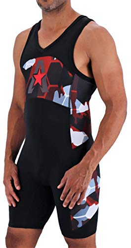 Anthem Athletics Helo-X Wrestling Singlet - Red Camo Hex - X-Small