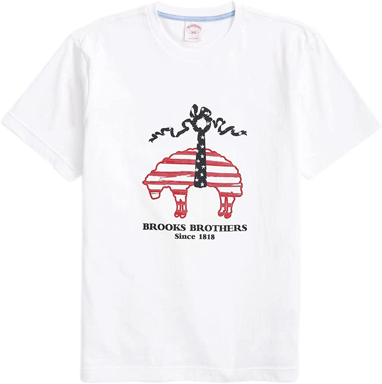 Brooks Brothers Men's 164545 Stars and Stripes Graphic Short Sleeve Tee T-Shirt White