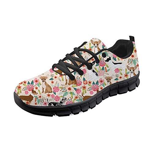 SEANATIVE Athletic Traillaufschuhe Joggingschuhe Tennis Sportschuhe Sneakers Straßenlaufschuhe für Damen, - Chihuahua-Blumenmuster - Größe: 36 EU
