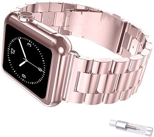 JIAOXIAOHUI Correa Compatible con la Correa de Apple Watch 44mm 42mm, IWATCH SE/Serie 6/5/4/3/2/1 Pulsera de Pulsera SmartWatch de Acero Inoxidable para Mujer - Oro Rosa Correas de Reloj