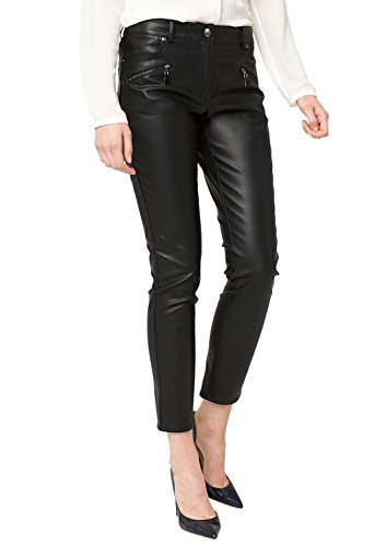 s.Oliver BLACK LABEL Damen Straight Leg Hose 11.411.76.2430, Gr. 38, Schwarz (dark night black 9999)