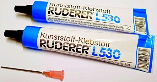 Ruderer 2X L530 Klebstoff für Kunststoffe. Mit Dosier-Kanüle. Wasserfest.