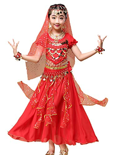 Kinderen meisje buik dans, Meisjes Buik Dans Kostuum Glanzend Carnaval Outfit Party Fancy Jurk, Kinderen Arabische Prinses Kleding Cosplay Danskleding (4 Stuk Set)
