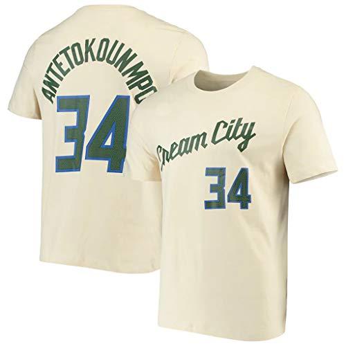 De Los Hombres De La NBA La Camiseta Milwaukee Bucks Giannis Antetokounmpo Aficionados Jersey Transpirables Atletismo Verano ¡para Jóvenes S-XXXL H-M