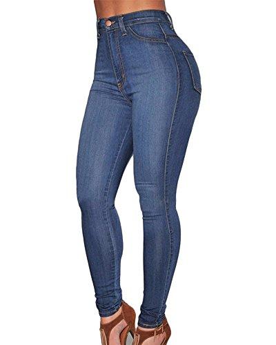 Kasen Mujer Vaqueros Levanta Cola Pantalones Cintura Alta Elásticos Denim Pantalones Azul Marino XL