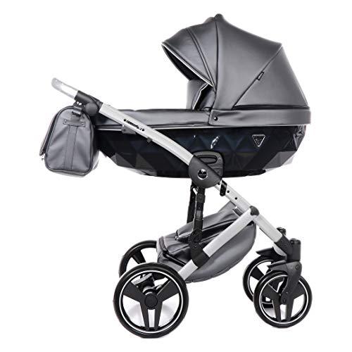 Junama Diamond Fluo 2.0 Trio 3en1 Carro de bebé polipiel BBtwin cochecito (gris)